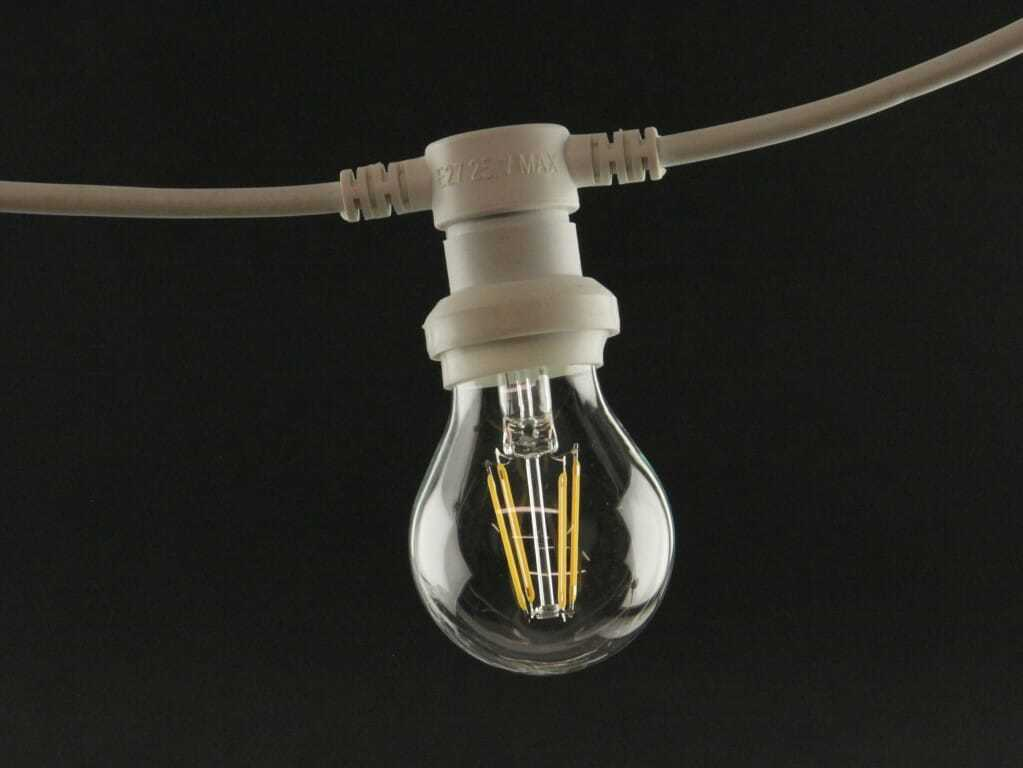 catenaria di lampadine bianca un filo di luci led per