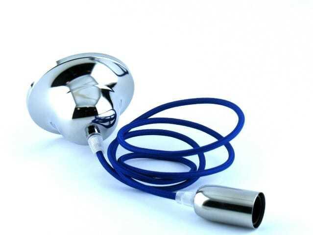 Pendel cromato cavo blu per lampadina e14