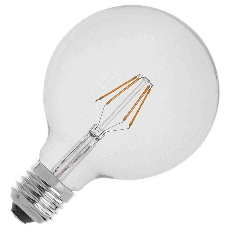 lampadina led prezzo : Lampadina led filamento globo grande luce calda 2700 Kelvin. Consumo 4 ...