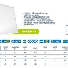 proiettore led slim kai mod scheda tecnica 56000