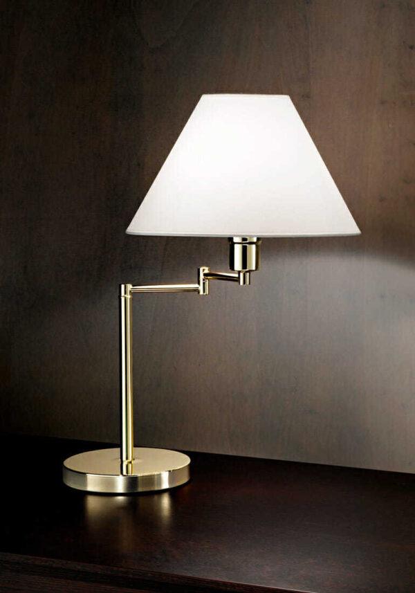 Lampada da tavolo snodabile ottone lucido con paralume in pvc od - Kit per lampade da tavolo ...
