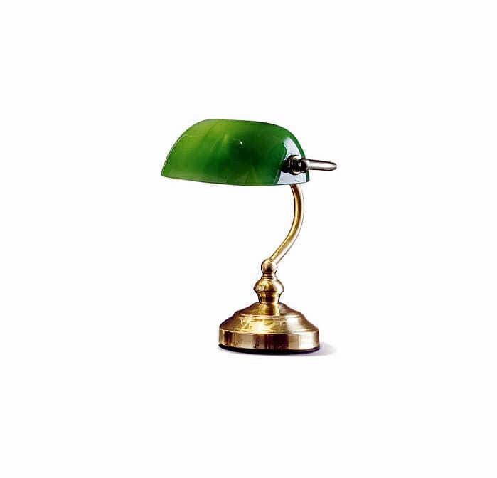 Lampada da tavolo in metallo ottone lucido con vetro verde - tuttoluce. Com