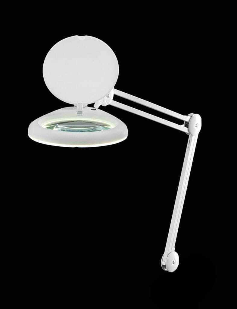 Lampada scrivania orientabile metallo e plastica colore bianco con lente 3 diottrie - Lampada da tavolo con lente ...