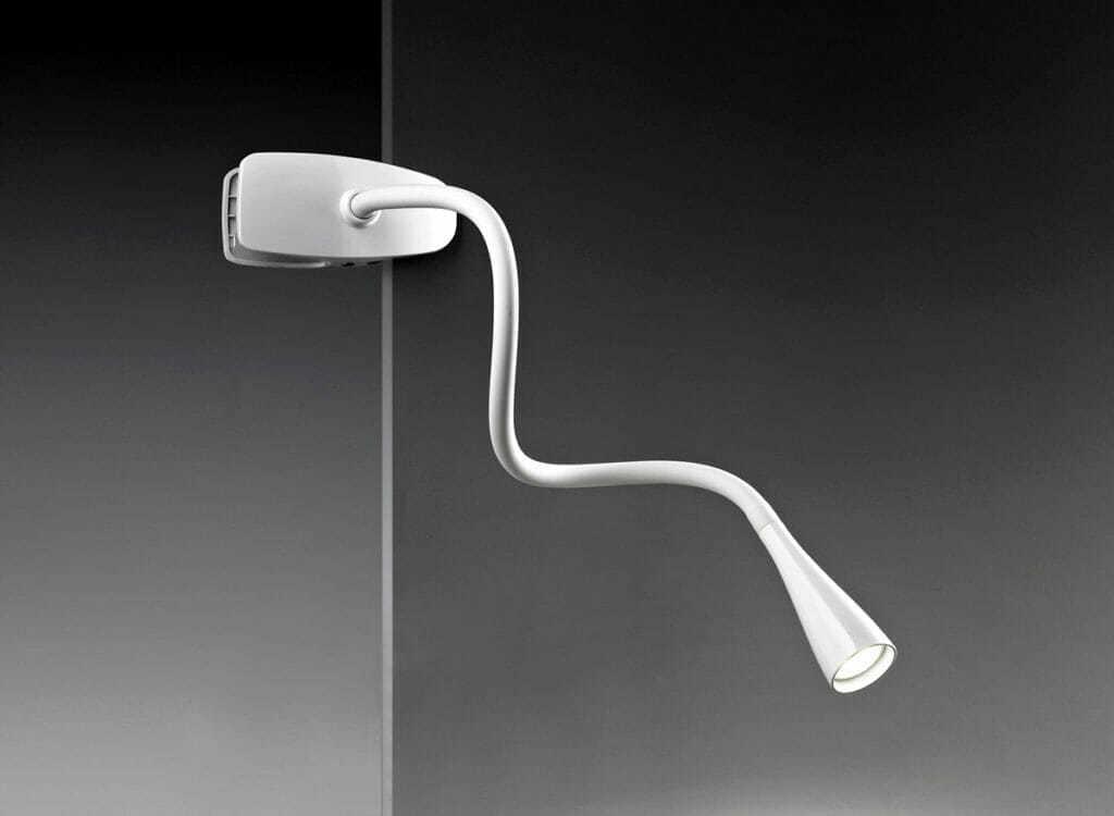 Lampada flessibile in plastica e metallo colore bianco con pinza