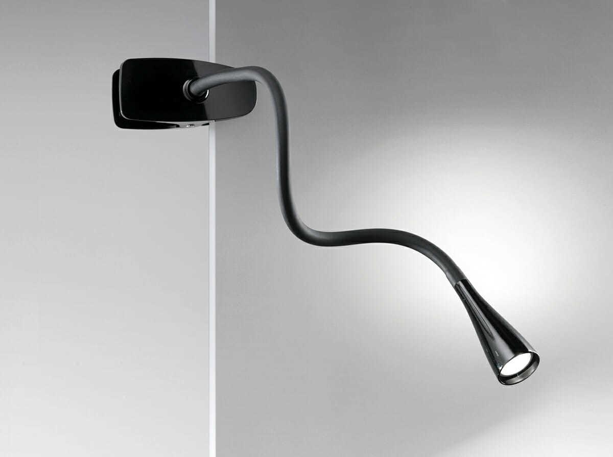 Lampada flessibile in plastica e metallo colore nero con - Lampada da tavolo con pinza ...