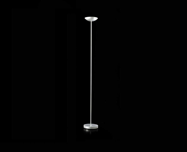 Lampada piantana stelo dritto metallo colore argento a