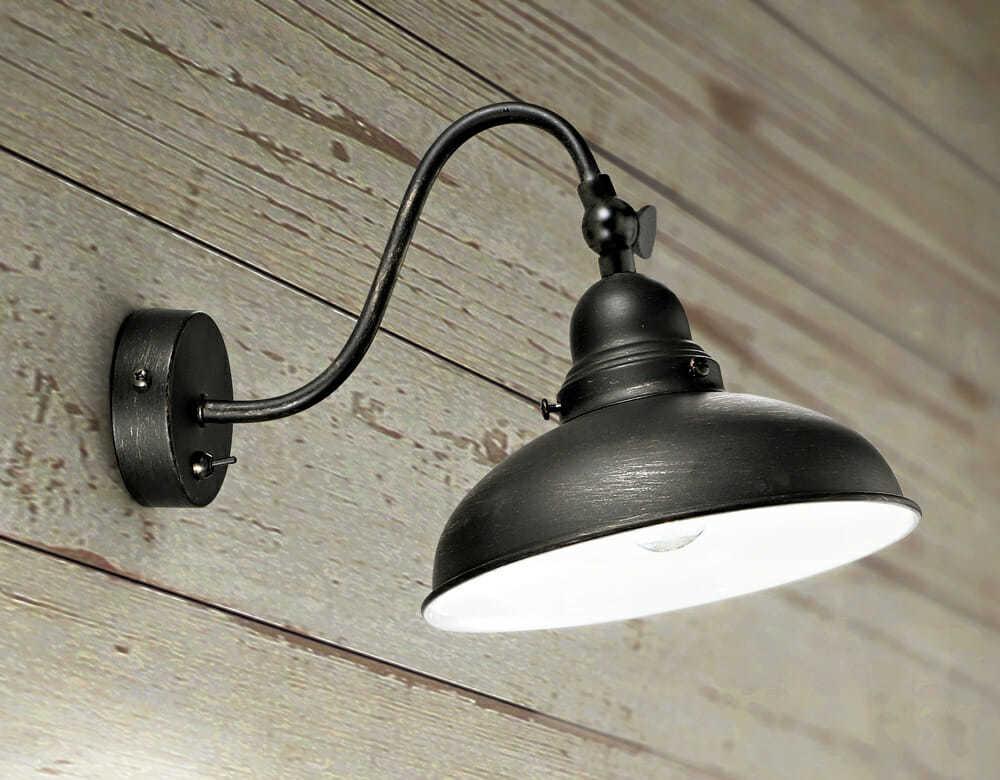 Applique in metallo verniciato colore nero anticato tuttoluce.com