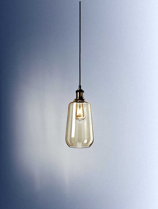 pendel lampadari Sospensione ottone brunito con vetro ambra
