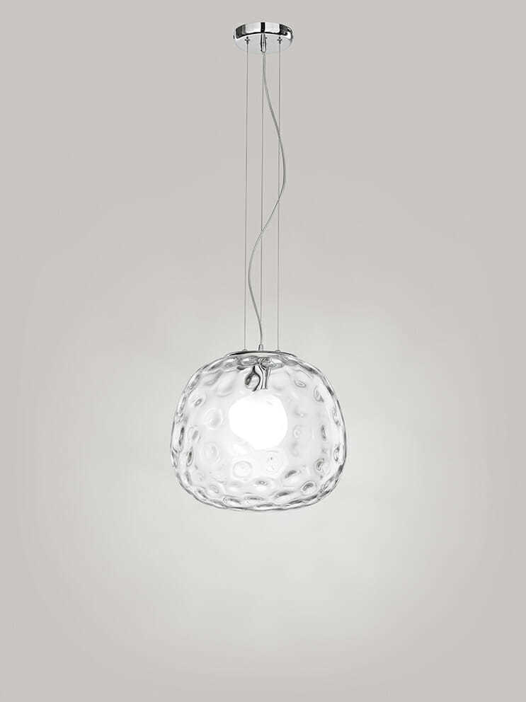 Sospensione in cromo lucido con vetro trasparente - tuttoluce. Com