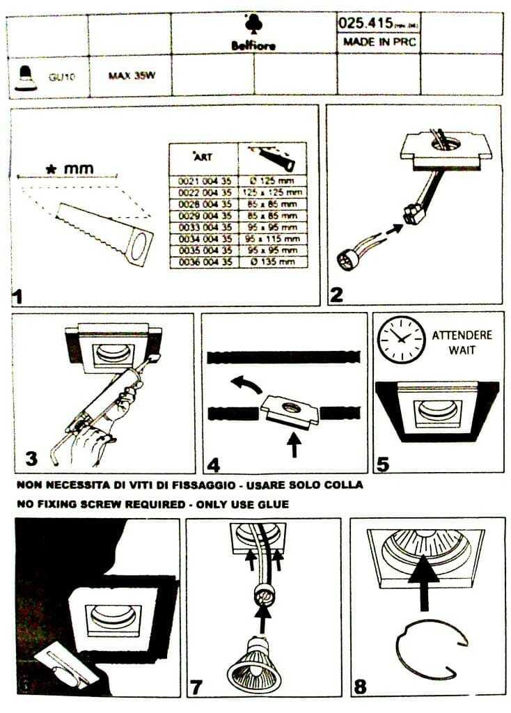 Faretto quadrato incasso in gesso gu10 istruzioni for Costo del solarium per piede quadrato