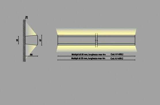 Mensola luminosa led parete doppia emissione esp for Mensole luminose