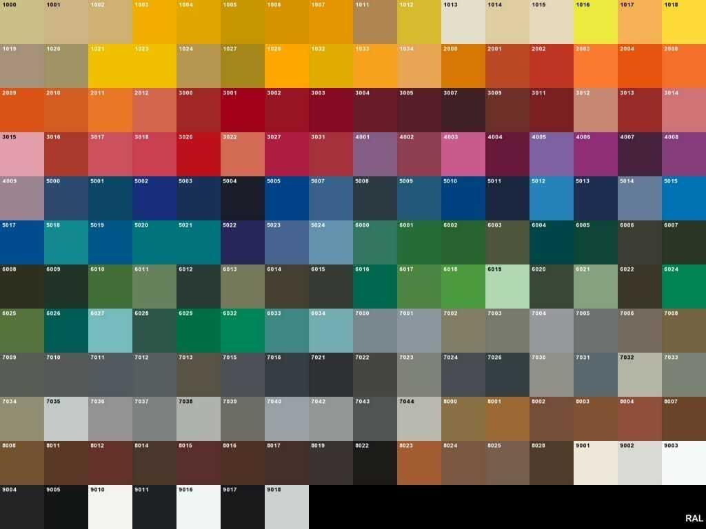 Tabella colori ral e codici equivalenti per scrittura html for Tabella per mescolare i colori