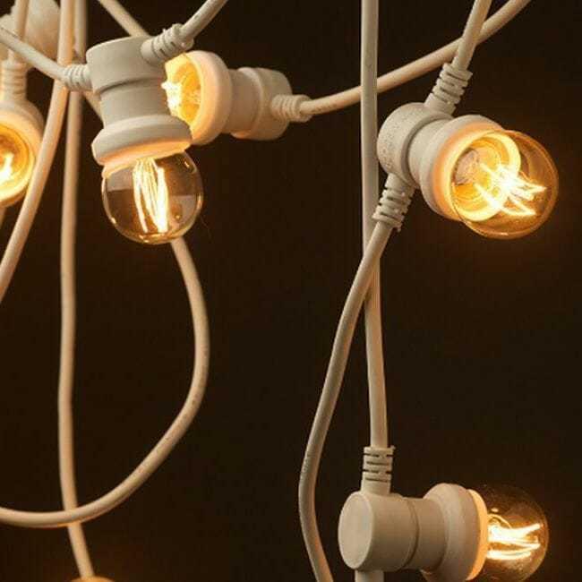 catenaria di lampadine bianca prolungabile 10 luci passo e27