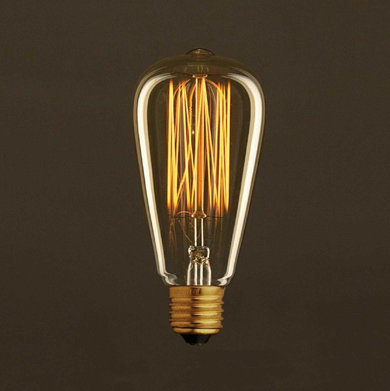 Lampade A Led A Filamento.Lampadina Filamento Carbon Disegno Onda Edison 6 4 Cm