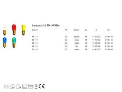 Lampadina led per luminaria e14 scheda tecnica